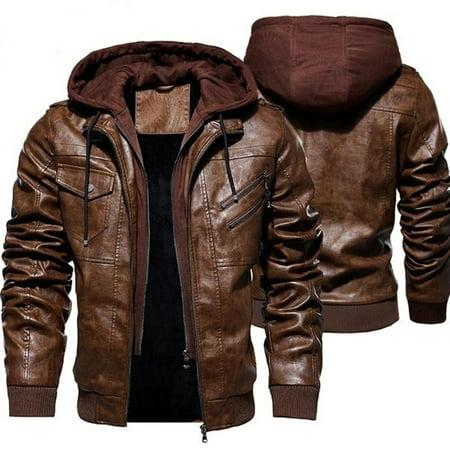 Men's Fashion Jackets Collar Slim Motorcycle Leather Jacket Coat Outwear Warm Hooded Coat Jackets M-4XL Lightweight Leather Motorcycle Jackets