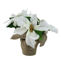 "10"" White Poinsettia Flower Artificial Christmas Floral Arrangement"