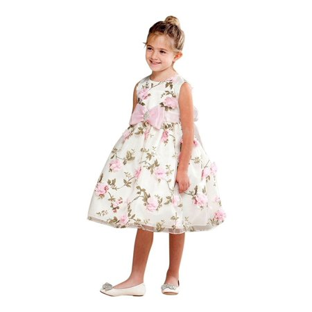 c05872e683d Crayon Kids - Crayon Kids Little Girls Ivory Floral Print Bow Brooch Flower  Girl Dress - Walmart.com