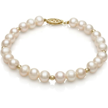 14k Yellow Gold White Cultured Freshwater Pearl and Bead Bracelet, 7.5