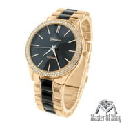 MK Style Womens Watch Black Dial 2 Tone Rose Black Gold Plate Lab Created Cubic Zirconia Bezel