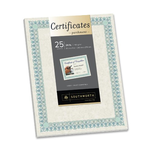 "Southworth Ct3r Parchment Certificates - 8.50"" X 11"" - Inkjet, Laser Compatible - Ivory (CT3R)"