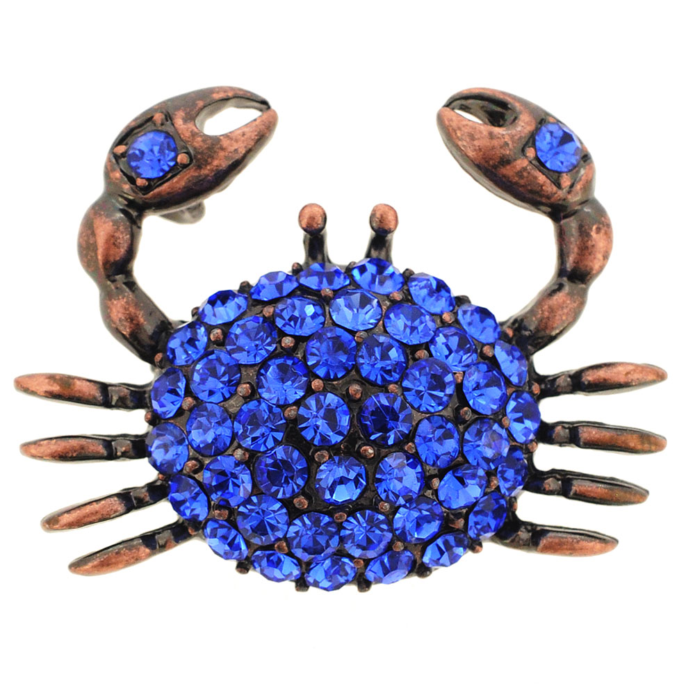 Sapphire Blue Crab Crystal Pin Brooch And Pendant by