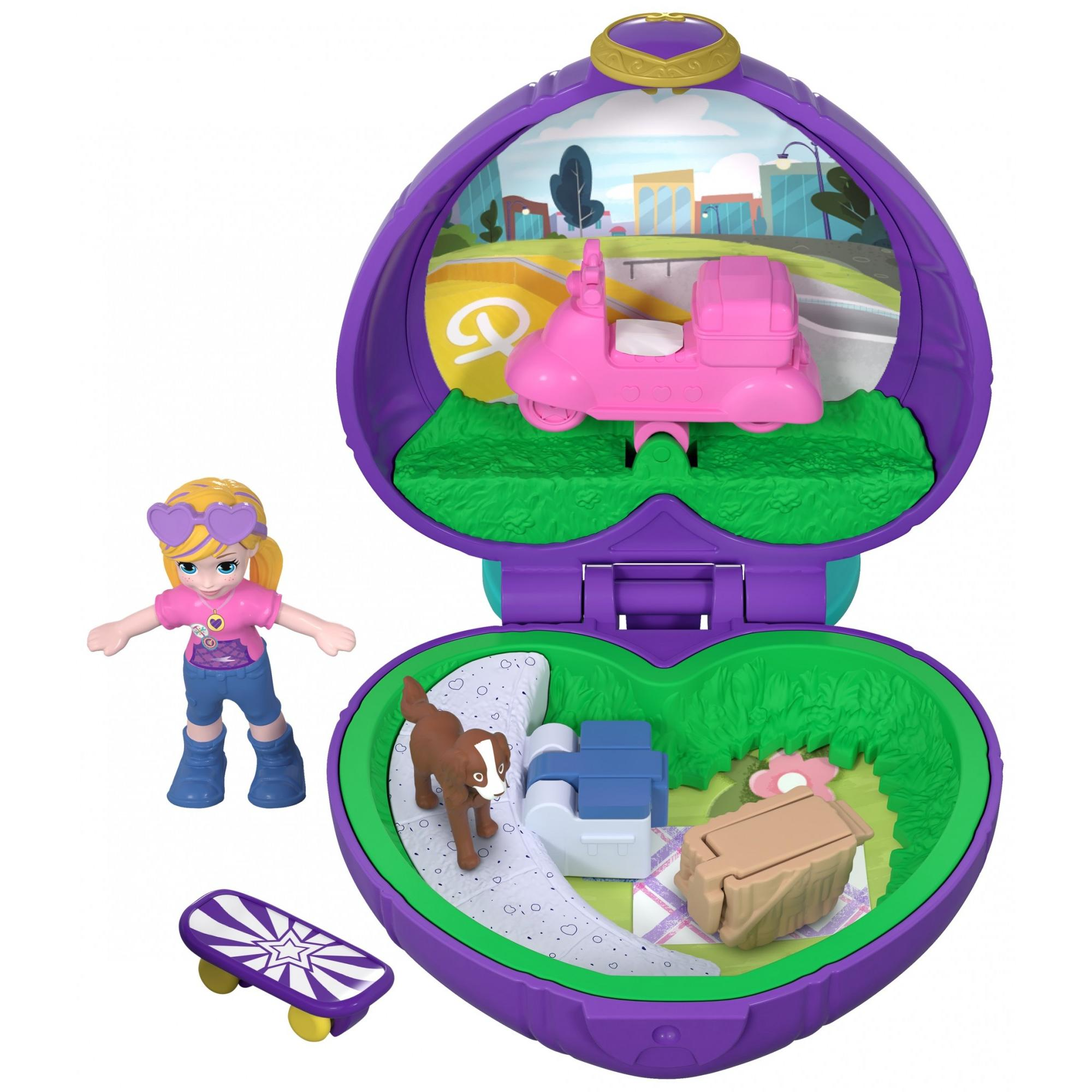 Polly Pocket Tiny Pocket Places Picnic Portable Compact with Micro Skateboarding Doll