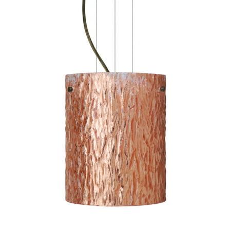 - Besa Lighting 1KG-4006CS-LED Tamburo 1-Light LED Cable-Hung Pendant with Stone Copper Foil Glass Shade