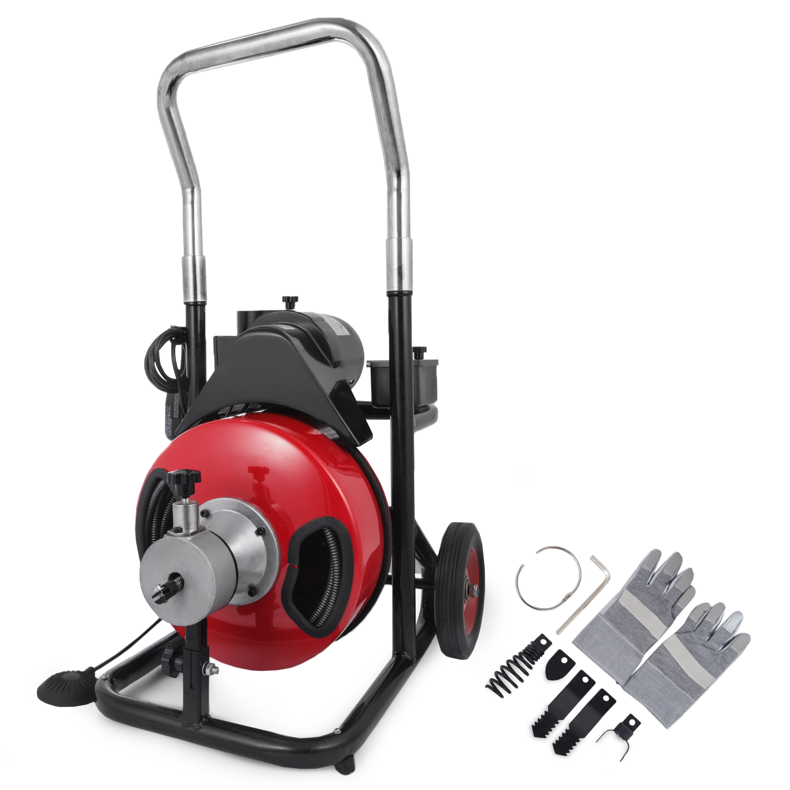 "BestEquip Sewer Snake Drill Drain Auger Cleaner 50 Ft Long 1/2'' Wide Electric Drain Cleaning Machine 4 Cutter & Foot Switch Drain Cleaner Drum Auger Snake for 2"" to 4"" Pipes"