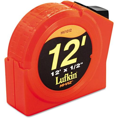 "Lufkin Hi-Viz Series 1000 Tape Rule, 1/2"" x 12', Plastic Case, Orange, 1/32"" Graduation"