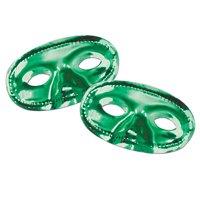 Club Pack of 24 Elastic Attached Metallic Kelly Green Mardi Gras Masquerade Half Masks