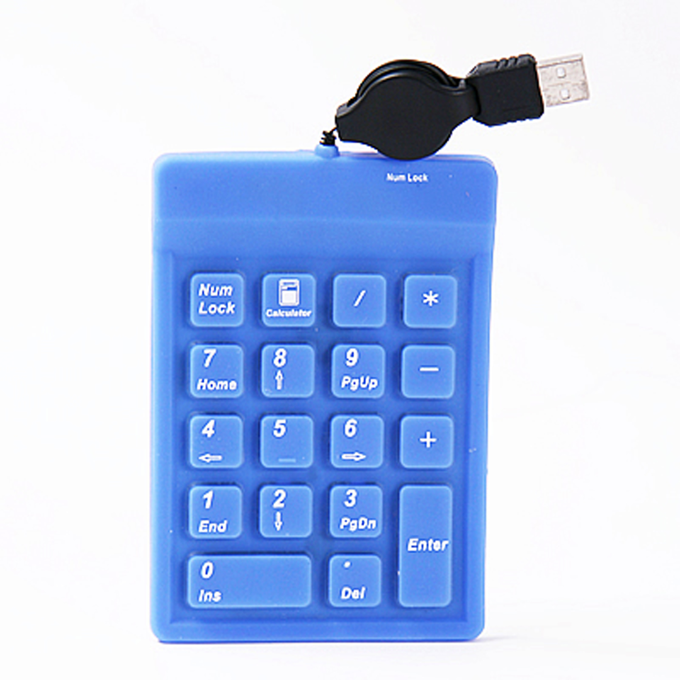 HDE Mini Silicone 18 Key Number Keyboard Pad with Retractable USB Cable (Blue)