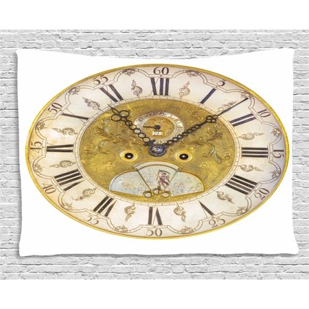 - Clock Decor Tapestry, Vintage Theme A Seventeenth Century Ornamental Clock Face with Roman Numeral, Wall Hanging for Bedroom Living Room Dorm Decor, 60W X 40L Inches, Gold Black, by Ambesonne