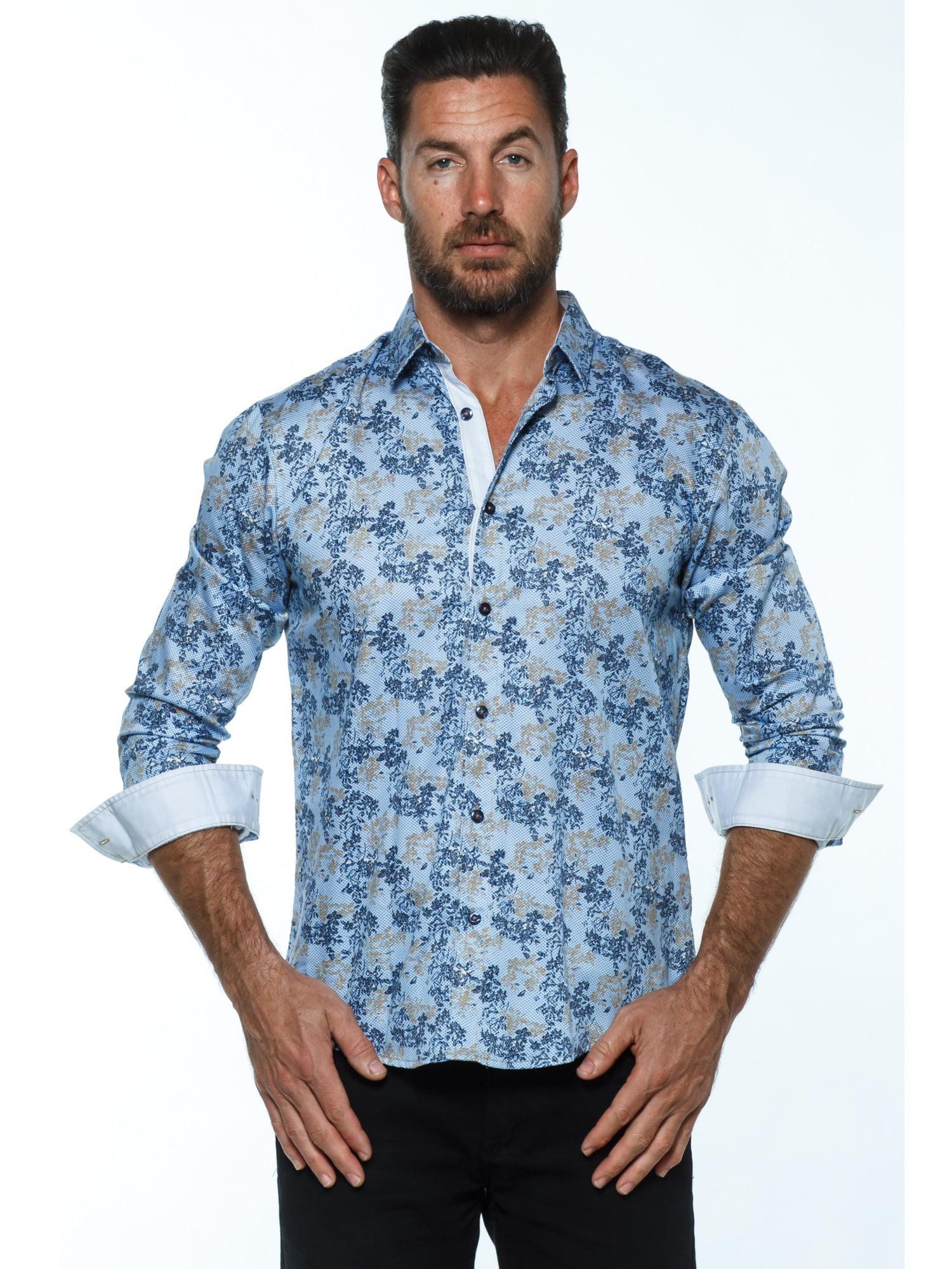 Muge Usa Isaac B Mens Blue Cotton Long Sleeved Button Up Shirt