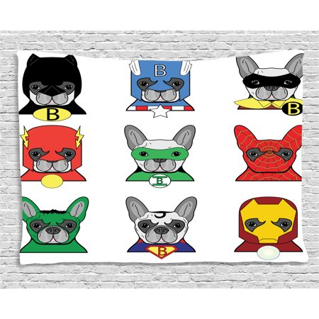 Superhero Tapestry, Bulldog Superheroes Fun Cartoon Puppies in Disguise Costume Dogs with Masks Print, Wall Hanging for Bedroom Living Room Dorm Decor, 60W X 40L Inches, Multicolor, by Ambesonne for $<!---->