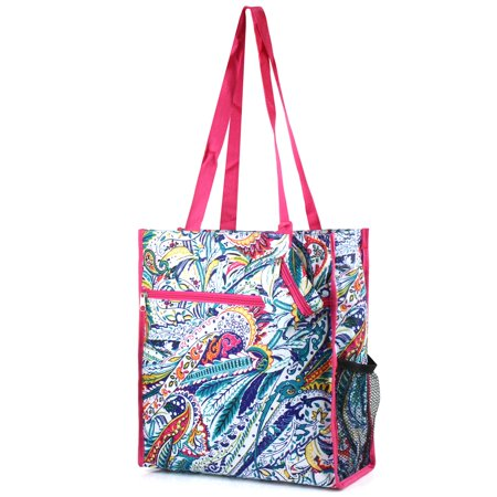 Tangerine Floral Tote (Zodaca Lightweight Zip Closure Tote Carry Bag for Shopping Travel)