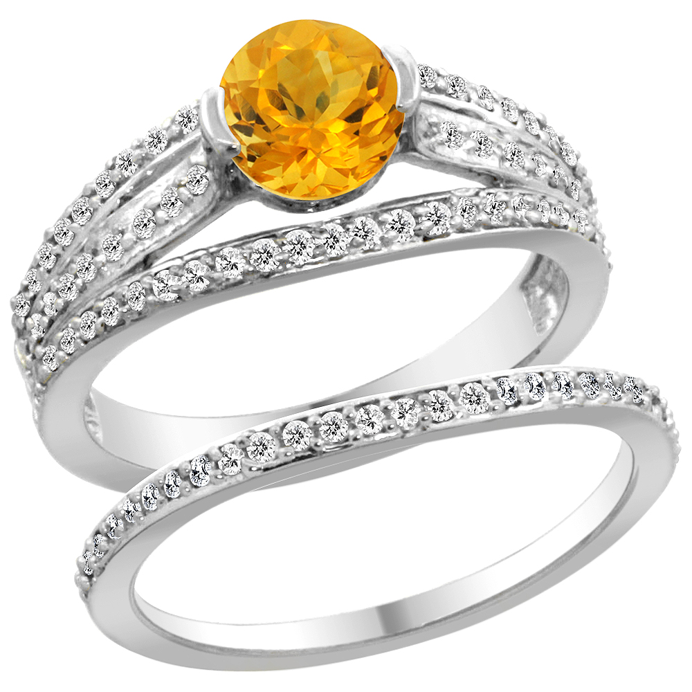 14K White Gold Natural Citrine 2-piece Engagement Ring Set Round 6mm, size 5 by Gabriella Gold