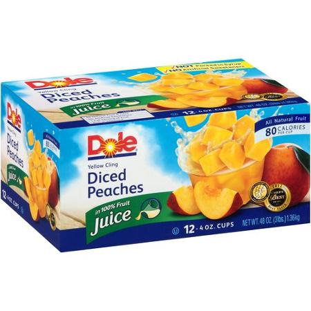 Dole Yellow Cling Diced Peaches Fruit Cups, 4 oz, 12 ct