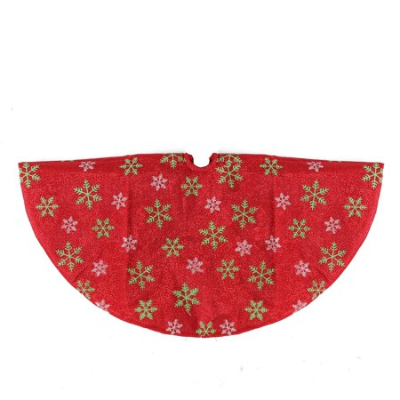 "20"" Decorative Red Metallic Green and Red Snowflake Mini Christmas Tree Skirt - image 2 of 2"