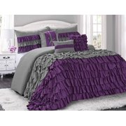 HIG 7 Piece Comforter Set King-Purple and Gray Microfiber Several Ruffles-BRISE Bed In A Bag King Size-Soft, Hypoallergenic,Fade Resistant-1 Comforter,2 Shams,3 Decorative Pillows,1 Bedskirt