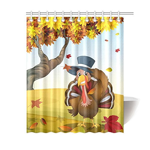 GCKG Thanksgiving Turkey Shower Curtain Autumn Scenery Polyester Fabric Bathroom Sets With Hooks 60x72 Inches