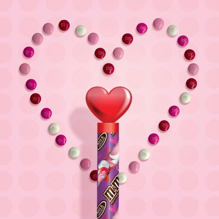 Mars M&M's Milk Chocolate Candy in Valentine's Day Cane with Heart Topper, 3 Oz.