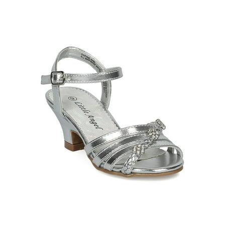 e62d083ddb323 Girls Open Toe Rhinestone Flower Ankle Strap Kiddie Heel Sandal HC27 -  Walmart.com