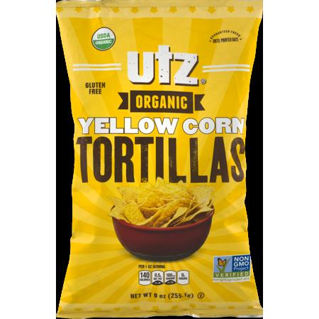 Utz Organic Yellow Corn Tortilla Chips 9 oz. Bag (4 Bags)