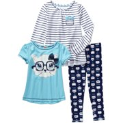 Girls' Tee, Top and Ankle Leggings 3-Piece Set