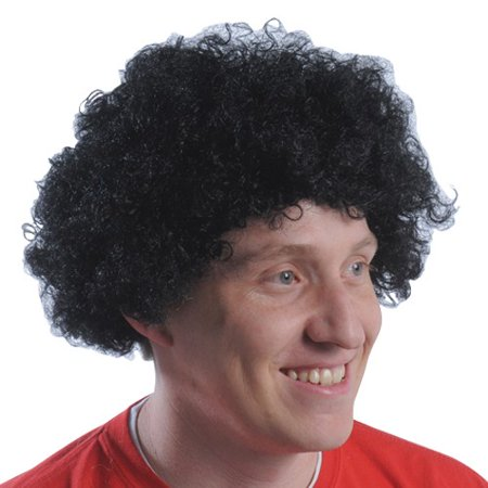 Black Curly Fro Wig Afro Adult Mens Andre The Giant 70's - Black Pink Wig