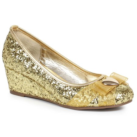 Women's Gold Glitter Princess Shoe with Heart Decor - Queen Of Hearts Shoes