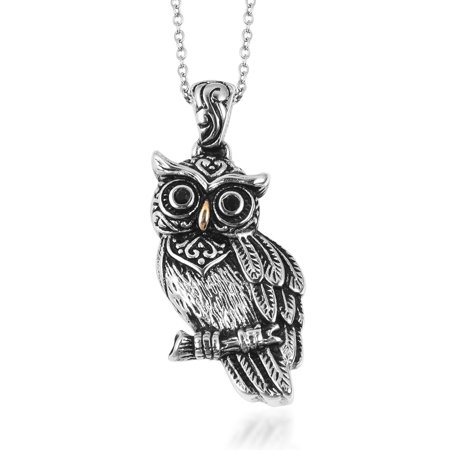 Chain Owl Pendant Necklace Stainless Steel Round Black Crystal Jewelry for Women Gift Size 20