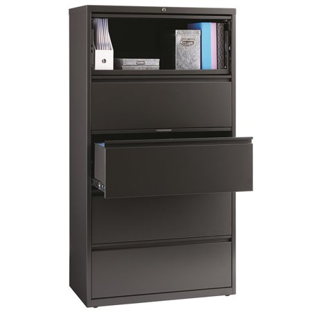 36' High Mobile Storage Cabinet - HL8000 Series 36-inch Wide 5-Drawer Lateral File Cabinet with Top Drawer Roll-Out Binder Storage, Charcoal