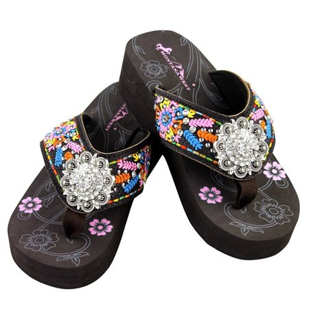 4fdc77b5f6e Montana West - Montana West Flip Flop Sandals Hand Beaded Embroidered  Studded (7B(M)