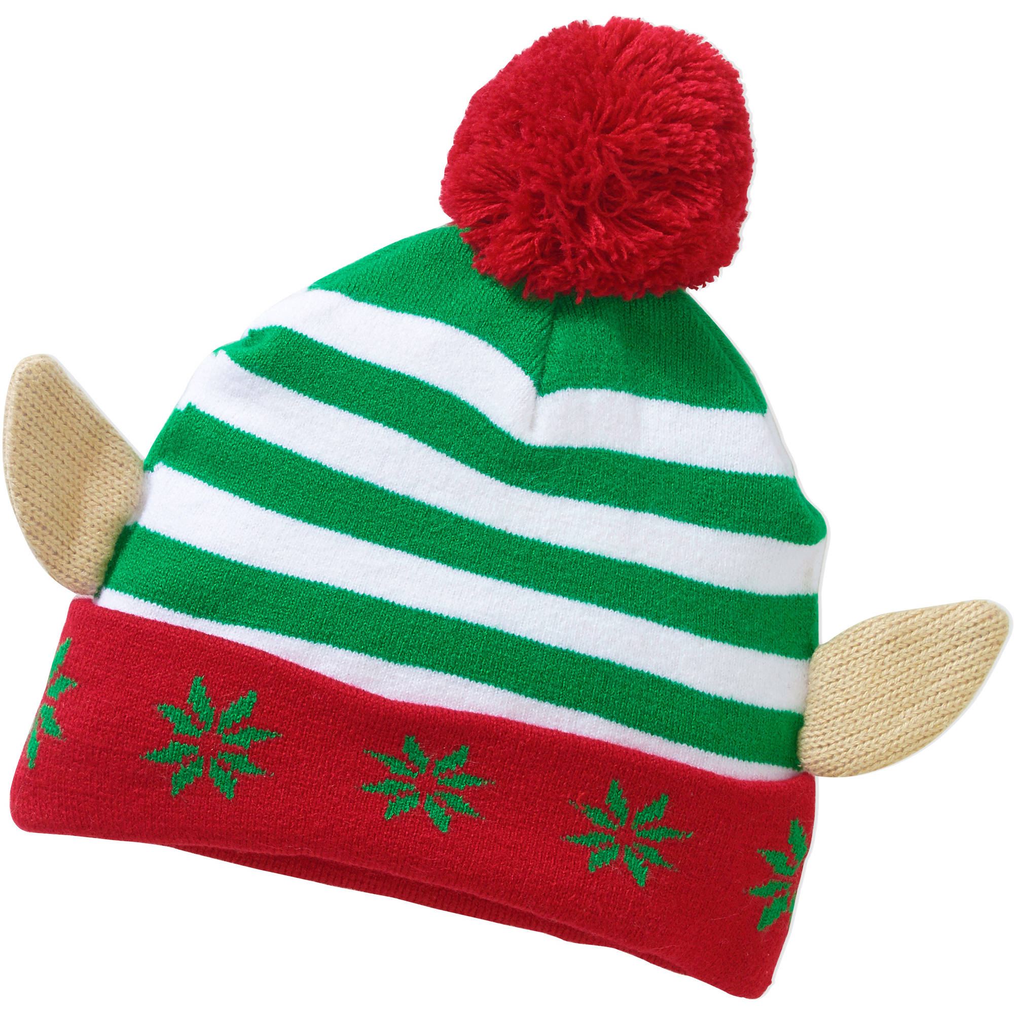 Stripey Elf 3D Ears Pom Beanie