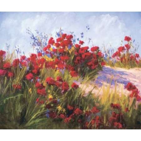 Red Poppies and Wild Flowers Stretched Canvas - Brigitte Curt (12 x 12)
