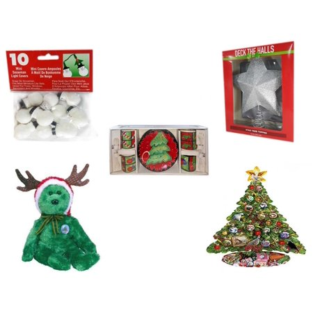 christmas fun gift bundle 5 piece 10 mini snowman light covers deck