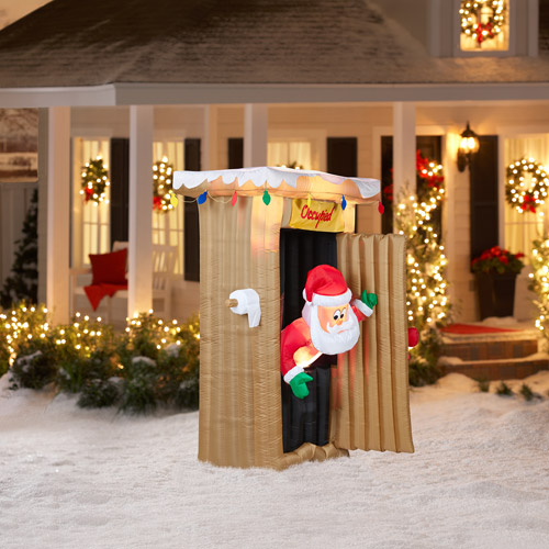 6' Tall Animated Airblown Christmas Inflatable Santa Coming Out of Outhouse Scene
