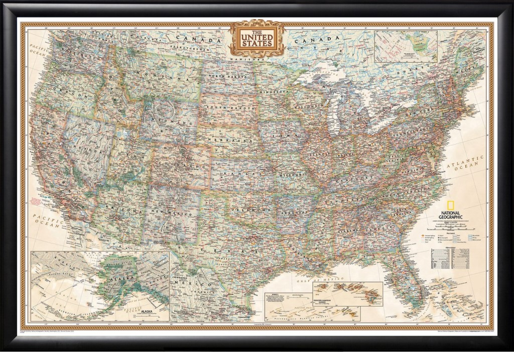 Framed National Geographic United States Executive Push Pin Map - National-geographic-us-map