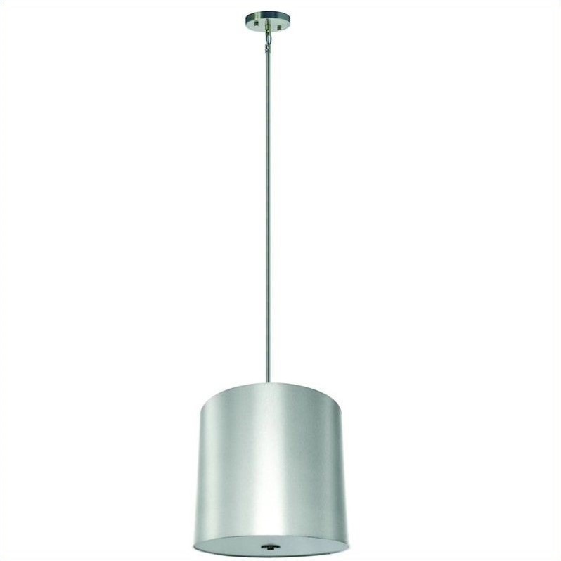 Yosemite Home Decor Lyell Forks 5 Light Pendant in Satin Steel with Pristine White Shade - image 1 of 1