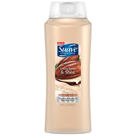 Suave Essentials Creamy Cocoa Butter and Shea Body Wash, 28 (Cucumber Saver)
