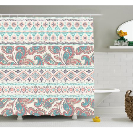 Tribal Decor Shower Curtain, Paisley Patterns in Native Aztec Mixed Pattern Floral Indian Design, Fabric Bathroom Set with Hooks, 69W X 84L Inches Extra Long, Cream Aqua and Coral, by