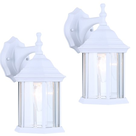 Outdoor Sconce Finish - 2 Pack of Exterior Outdoor Light Fixture Wall Lantern Sconce Clear Beveled Glass, White Finish