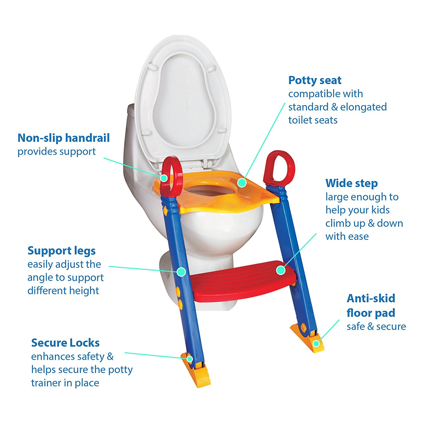 Amazing Chummie Joy 6 In 1 Portable Potty Training Ladder Step Stool For Boys And Girls With Anti Skid Feet Adjustable Steps Comfortable Potty Seat With Short Links Chair Design For Home Short Linksinfo
