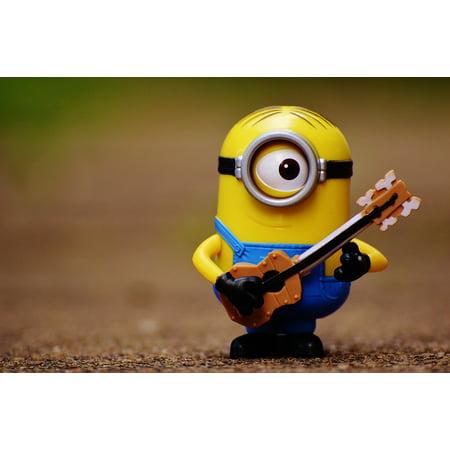 Cute Minions (Canvas Print Play Guitar Minion Toys Funny Cute Music Musical Stretched Canvas 10 x)