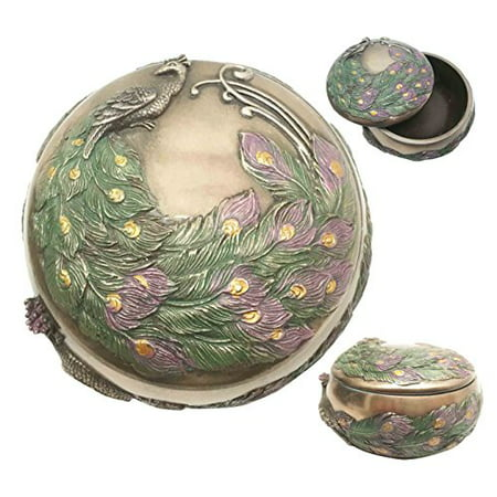 Art Nouveau Beautiful Iridescent Tailed Peacock Round Jewelry Box Trinket Figurine
