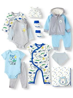 Miniville Baby Boy Zoo Animals Super Soft Yummy Fabric Shower Gift Set, 11-Piece