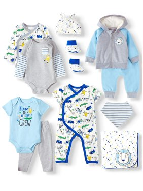 Miniville Zoo Animals Super Soft Yummy Fabric Baby Shower Layette Gift Set, 11pc (Baby Boys)