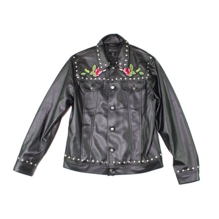 Mens Medium Pleather Button-Down Motorcycle Jacket M