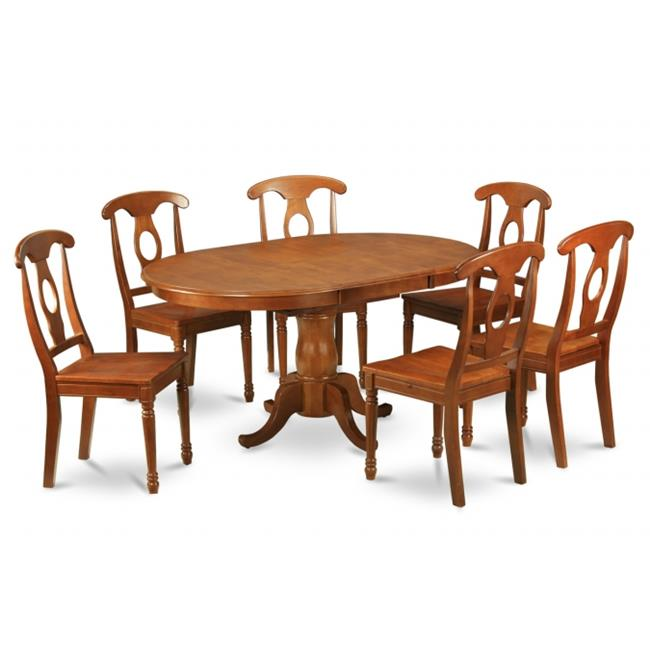 Wooden Imports Furniture PSA5-SBR-W 5PC Picasso Rectangular Table and 4 Avon Wood Seat Chairs - Saddle Brown Finish