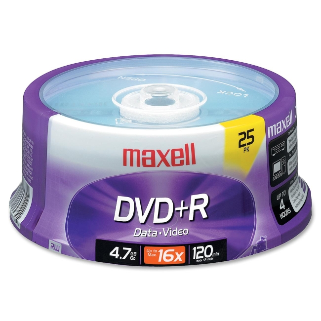 Maxell 634050/639011 4.7GB DVD+R, 25-Count
