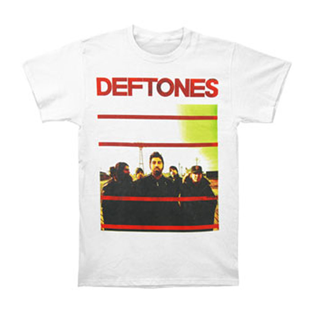 Deftones Men's  Red Lines Slim Fit T-shirt White
