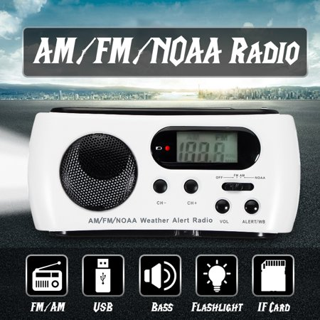 Portable Emergency Radio Solar Hand Crank LED Flashlight Torch Phone  Charger AM FM NOAA Weather Radio Receiver Telescopic Antenna